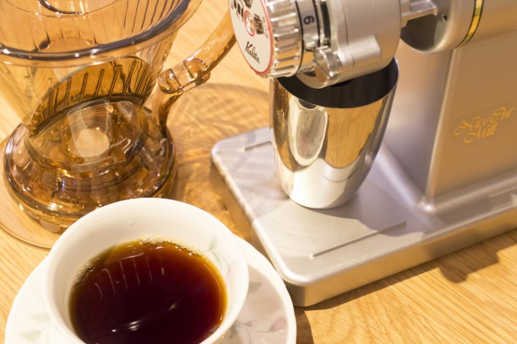 挽きたて豆のコーヒー